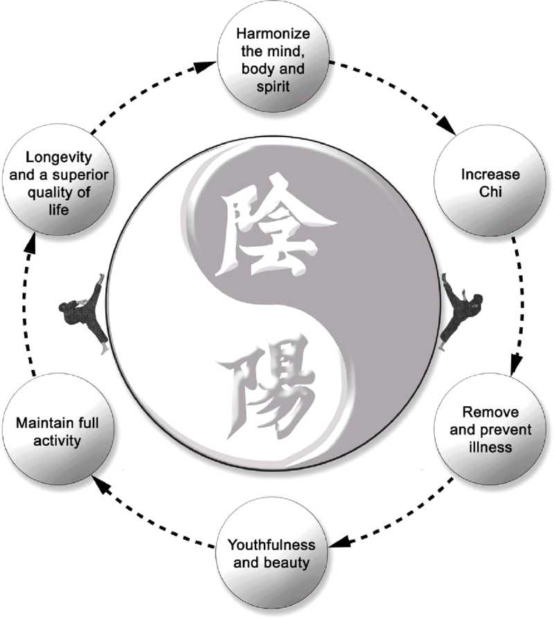 Cycle of Life: Oom Yung - Harmonize the mind, body and spirit; Increase Chi; Remove and prevent illness;  Youthfulness and beauty; Maintain full activity; Longevity and a superior quality of life
